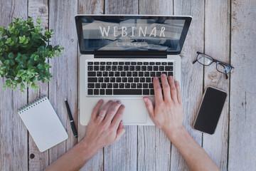 Webinar concept, online education,  educational training program on internet.