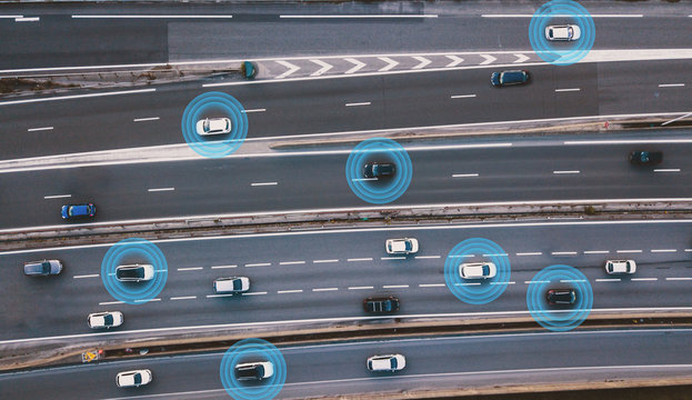 smart cars driving on the road, driverless vehicles, aerial top view from above