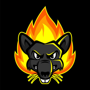 Angry Rat On Fire Mascot Logo
