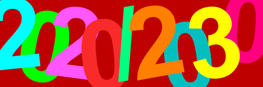 A time. Decade of the 20s of the 21st century. Illustration with the dates of the years 2020 and 2030. Colorful graphic with strong colors and great contrast with elegant fuchsia background. 10 years