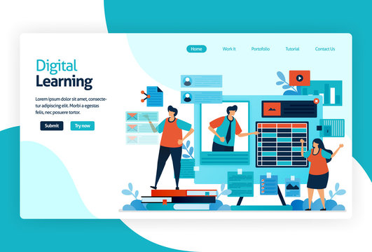 illustration of landing page for digital learning. learning by technology or instructional practice that effective for transferring knowledge, skill, value, belief, and habit. adaptive and analytics