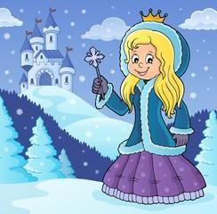 Deurstickers Voor kinderen Princess in winter clothes theme image 2