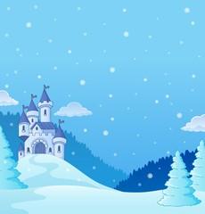 Deurstickers Voor kinderen Winter countryside with castle theme 2