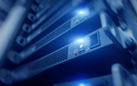 Supercomputer concept. Telecommunication server rack. Technology Background.