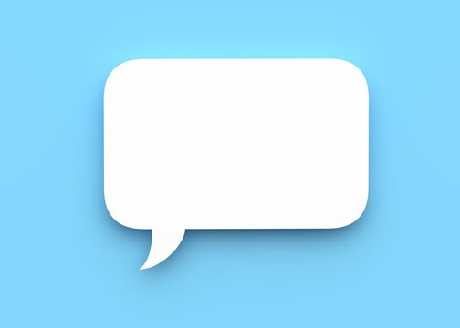 Speech bubble on blue background 3d rendering