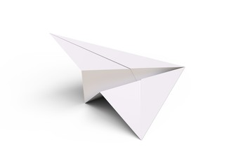 Paper plane isolated on white background 3d rendering