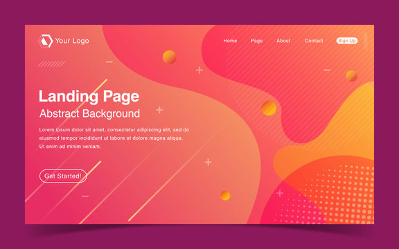 Website Landing Page With Abstract Background