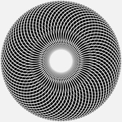 abstract round shape. monochrome spirograph style