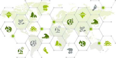 Climate change / global warming consequences – world map icon concept: drought, sea level rise, heat, flood, storm - vector illustration