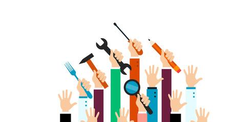 mani alzate, mestieri, persone, lavoratori