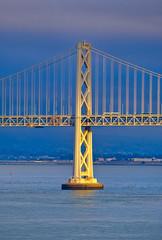 Fototapete - Golden Afternoon Light on Bay Bridge Support
