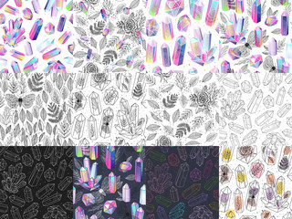 Wall Mural - Set of magical seamless patterns with multicolored crystals gem stones, leafs, moths, roses, terrariums. Colored, black and white backgrounds. Vector illustration.