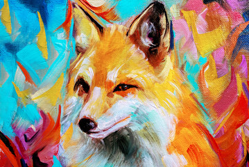 Wild fox illustration in oils isolated on colorful background