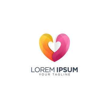 Colorful heart logo design template vector