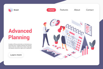 Deurstickers Hoogte schaal Advanced planning landing page vector template. Management website interface idea with flat illustrations. Work optimization homepage layout. Teamwork web banner, webpage isometric cartoon concept
