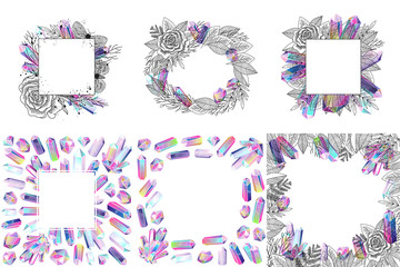 Wall Mural - Set of romantic foliage frames with rose, moths and crystals isolated. Black and white floral elements, flowers, gradient multicolored gems. Vector illustration.