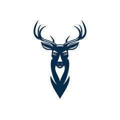 Wild elk or deer with antlers isolated head mascot. Vector horned animal, reindeer hunting sport emblem