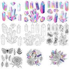 Wall Mural - Magical fairytale crystals gem stones and leaves, rose, moths, vector isolated set. Colored, black and white elements.