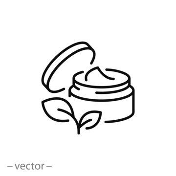 natural organic cosmetics icon, open jar, bio skin care, cream , thin line web symbol on white background - editable stroke vector illustration eps10