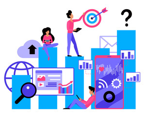 armes en ecommerce SMM flat vector illustration. Social media marketing service. Strategy planning. E-marketing company. Promotion campaign. Advertising process visualisation. Agency employees cartoon characters