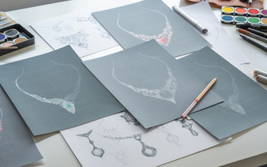 Designer design diamond jewelry drawing sketches making works craft unique handmade luxury...