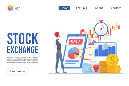 Stock exchange landing page vector template. Trading website interface idea with flat illustrations. Financial service homepage layout. Accounting web banner, webpage cartoon concept