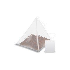 Teabag pyramid with label isolated black tea mockup. Vector tea bag with blank tag, template