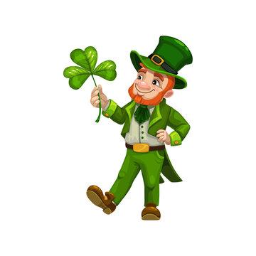 Man cartoon leprechaun with clover symbol of luck isolated. Vector bearded Irish, Saint Patrick