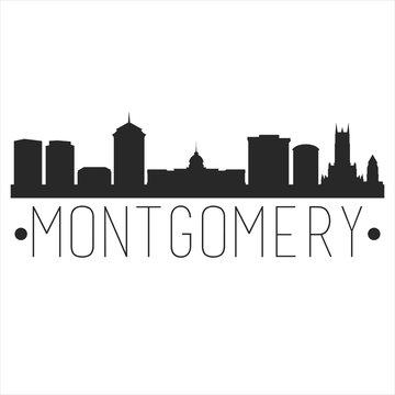 Montgomery Alabama. City Skyline. Silhouette City. Design Vector. Famous Monuments.