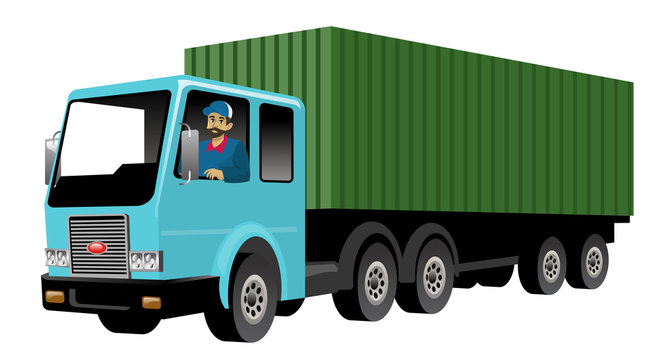 smiling truck driver driving big cargo truck