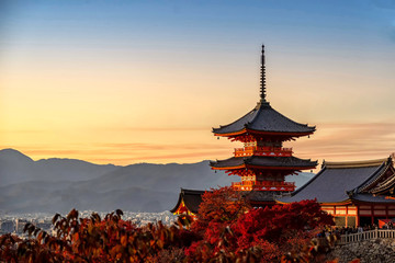 Kyoto,Japan - November 23, 2019 Pagoda of Kiyomizudera Temple in Autumn at sunset, Kyoto, Japan.