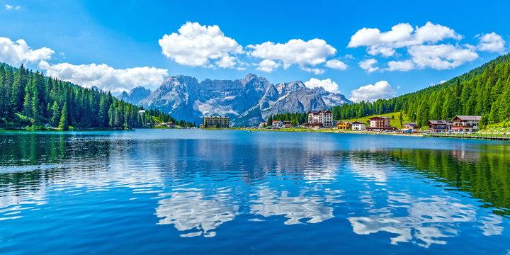 Dolomites landscape in summer by Misurina lake, Italy