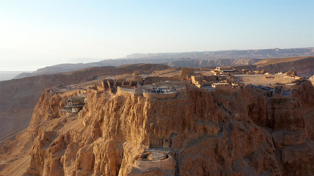 Drone View of Masada National Park at sunrise, Dead sea, Israel Masada - Aerial footage of the ancient fortification in the Southern District of Israel