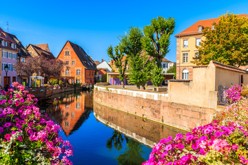 Foto op Plexiglas Zalm Flowers on canal bridge in Colmar village, Little Venice, Alsace Wine Route, France