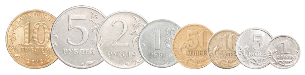 set of Russian rubles