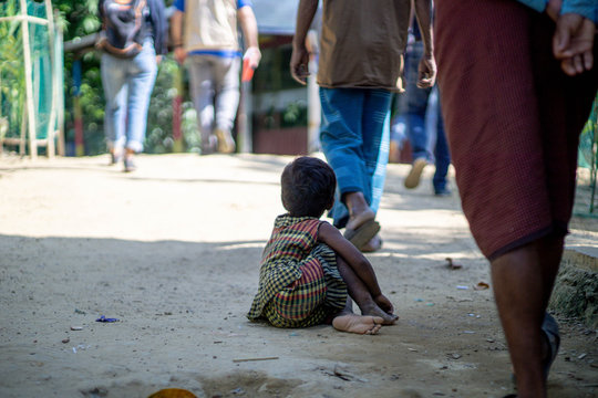rohingya refugee children playing on the street of refugee camp in teknaf bangladesh