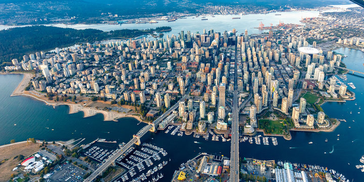 aerial photograph of downtown Vancouver from a seaplane