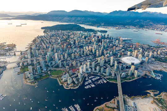 aerial photograph of downtown Vancouver