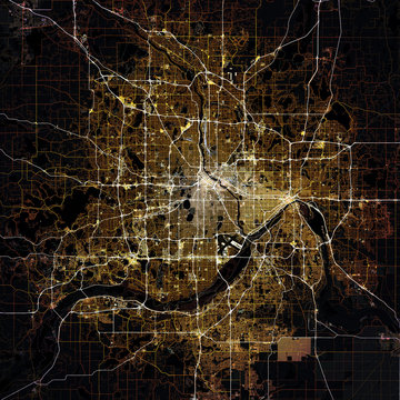 Map Minneapolis city. Minnesota