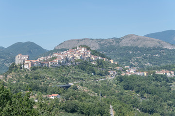 Spoed Foto op Canvas Khaki Rivello uphill village from south west, Italy