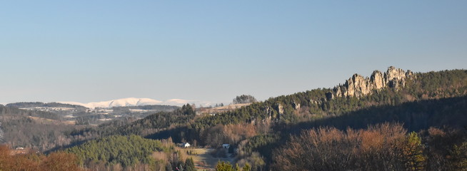 Recess Fitting Gray traffic View on Suche skaly, Krkokoše mountain in the background, Mala skala, Bohemian paradise, Czech republic