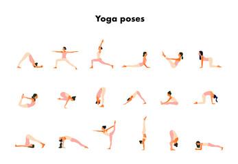 Tiny women performing yoga poses. Women practicing asanas and pelvic floor exercises. Flat cartoon vector illustration isolated on white background.