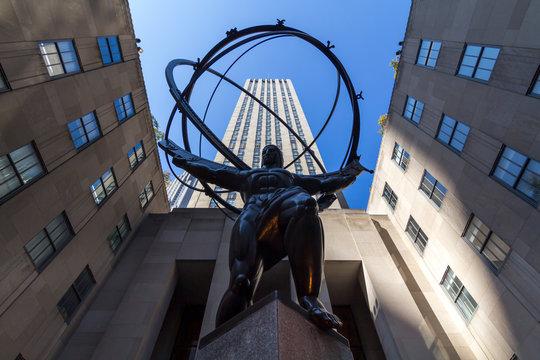 New York, USA - October 14, 2019: Atlas statue in front of Rockefeller Center building in Manhattan, in the big city of New York