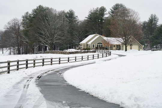 residential house exterior after snow storm