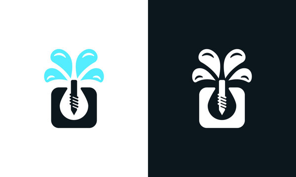 Elegant abstract Well drilling logo. This logo icon incorporate with drilling pump and water icon in the creative way.