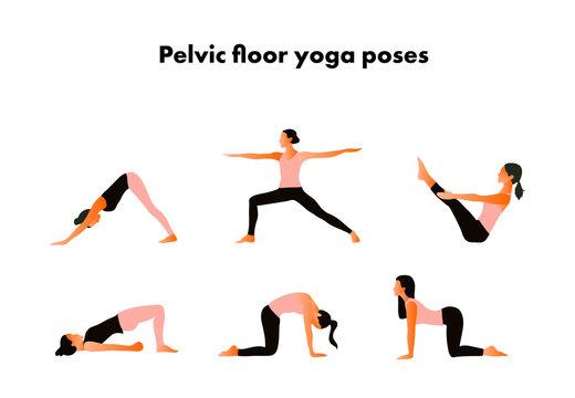 Pelvic floor yoga poses. Woman health. Yoga asanas. Exercises for mom to strengthen the pelvic floor muscles. Vector cartoon illustration. Kegel exercises.
