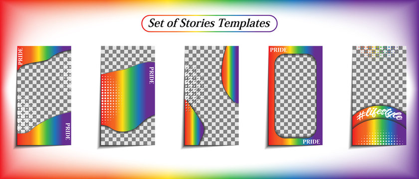 Story Templates. Cover or background for the design of social networks, photos, text, sales and promotions. Decoration in the colors of the rainbow LGBT flag