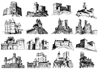 Graphical set of castles isolated on white background,vector illustration