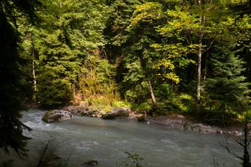 Abkhazia. Jeep trip to the mountains. The Gega waterfall, lake Riza