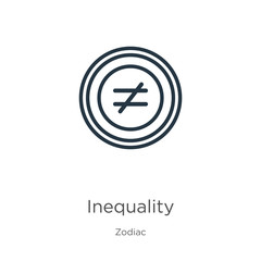 Inequality icon. Thin linear inequality outline icon isolated on white background from zodiac collection. Line vector sign, symbol for web and mobile